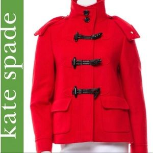 Kate Spade Red Wool Blend Hooded Pea Coat Size 4